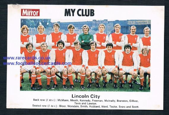 1970 My Club Daily Mirror postcard-size card Lincoln City